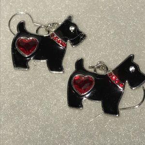 Scotty Dog 🐕 crystal Heart Earrings